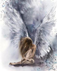Angel Fine Art Print, Woman Figure Angel with Purple Wings Loose Style Watercolor Painting Art, Angel Wall Art Print Angel Images, Angel Pictures, Art Pictures, Painting Prints, Watercolor Paintings, Fine Art Prints, Oil Paintings, Painting Art, Art Original