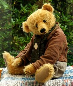 Gold Mohair One of a Kind Robin Der Bar Teddy Bear by Marie Robischon picclick.com