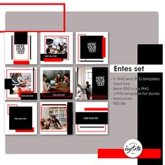 The set of templates RED-Black. Instagram Design, Instagram Png, Instagram Feed Layout, Instagram Frame, Social Media Branding, Social Media Design, Social Media Marketing, Guerrilla Marketing, Street Marketing