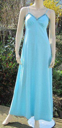 Vintage 70s maxi dress with jacket Marshall Ward blue evening dress silver braid trim B 34