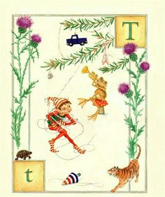 T is for Tinsel Elf terribly tangled.  Lauren Mills, Elfabet.