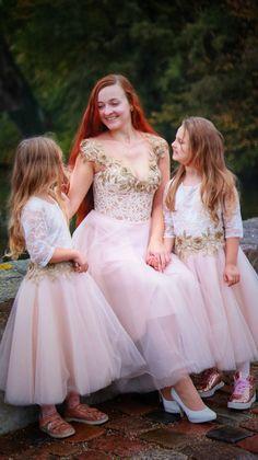Family look Nude Lace Dress/Mom Daughter dresses/Princess dresses/Transparent corset Dress/Gold Bride Dress/Lace Swarovski Dress/Party dress Mom Dress, Lace Dress, Evening Dresses, Prom Dresses, Wedding Dresses, Open Back Dresses, Mom Daughter, Dress Backs, Corset
