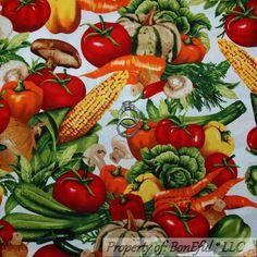 BonEful Fabric FQ Cotton Quilt Orange Green Vegetable Red Tomato Gourmet Kitchen