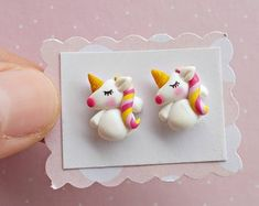 Unicorn Earrings - Unicorn Studs - Unicorn Jewellery - Unicorn Jewelry - Kids Earrings - Gift for Unicorn Lover Valentines Day Gift Kids Earrings, Cute Earrings, Cute Gifts For Her, Gifts For Kids, Polymer Clay Charms, Polymer Clay Earrings, Biscuit, Unicorn Jewelry, My Little Pony Drawing