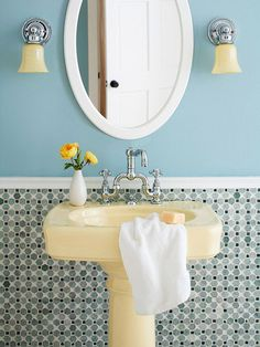blue bathroom with mosaic backsplash, vintage sink, sconces, round mirror. Small Bathroom Chic: Small Spaces with Big Style from Bathroom Bliss by Rotator Rod White Mosaic Tiles, Blue Tiles, Upstairs Bathrooms, Small Bathroom, Bathroom Wall, Bathroom Ideas, Blue Bathrooms Designs, Tiny Bath, Sweet Home