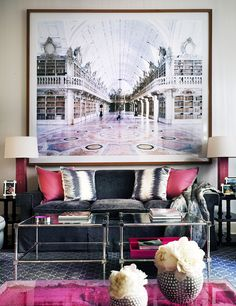 A Cullman-designed New York town house features a large-format print by Candida Hofer and a pink coffee table by Yves Klein.
