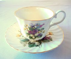 Teacup and Saucer English Luxford Bone China by CandyAppleCrafts,