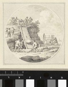 Hermanus Petrus Schouten | Werklieden in een steengroeve, Hermanus Petrus Schouten, 1757 - 1822 | Werklieden in een steengroeve bezig met het zagen en optakelen van blokken steen.