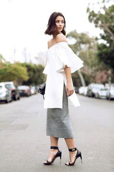 #offtheshoulder #slit #long #skirt