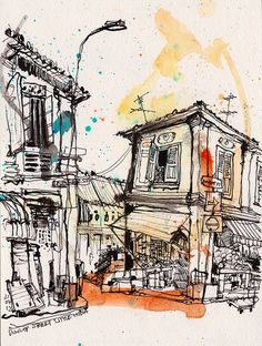 Drawing Dunlop street, Singapore's Little India, via urban sketchers Art And Illustration, Ant Drawing, Nature Drawing, A Level Art, Urban Sketchers, Watercolor Sketch, Art Sketchbook, Sketchbook Inspiration, Cool Drawings