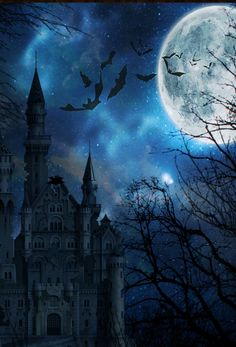 By Artist Unknown. Dragon Pictures, Art Pictures, Spooky Background, Creepy Houses, Gothic Aesthetic, Scary Places, Halloween Haunted Houses, Most Haunted, Sombre