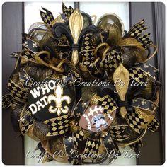 New Orleans SAINTS Wreath  Saints Football by CreatedByTerri, $85.00 Christmas Mesh Wreaths, Deco Mesh Wreaths, Holiday Wreaths, Door Wreaths, Ribbon Wreaths, Tulle Wreath, Winter Wreaths, Floral Wreaths, Burlap Wreaths