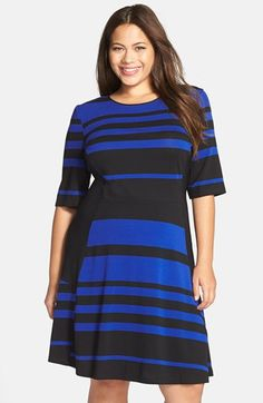 Gabby Skye Stripe Elbow Sleeve Fit & Flare Dress (Plus Size) available at #Nordstrom
