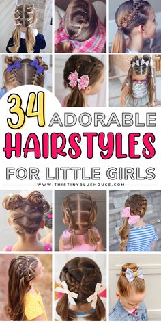 Here are 30+ fun and easy hairstyles for little girls. These easy hairdos for girls are all the rage this year because they are cute and easy! Easy Little Girl Hairstyles, Girls Hairdos, Cute Girls Hairstyles, Princess Hairstyles, Girl Haircuts, Easy Toddler Hairstyles, Easy Hairstyles For School, School Hairdos, Mornings