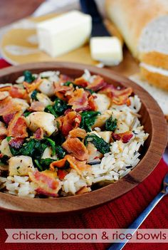Chicken, Bacon & Rice Bowls  ---maybe substitute the rice with herbed quinoa?  and sprinkle some blue cheese or asiago on top! mmm yess!
