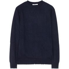 T by Alexander Wang Distressed knitted sweater (490 PLN) ❤ liked on Polyvore featuring tops, sweaters, jumpers and coats, indigo, merino sweater, destroyed sweater, ripped tops, loose sweater and t by alexander wang