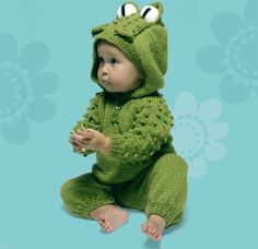 So adorable! Frog Suit free knitting pattern excerpt from the book Wacky Baby Knits, via @Etsy #Halloween baby costume