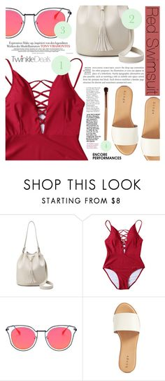 """Red Swimsuit"" by tasnime-ben ❤ liked on Polyvore featuring Hinge"