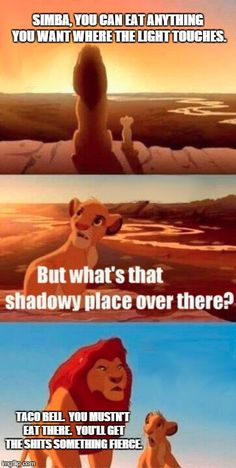Shadowy Taco Bell   SIMBA, YOU CAN EAT ANYTHING YOU WANT WHERE THE LIGHT TOUCHES. TACO BELL.  YOU MUSTN'T EAT THERE.  YOU'LL GET THE SHITS SOMETHING FIERCE.   image tagged in memes,simba shadowy place,taco bell,shits,made myself giggle   made w/ Imgflip meme maker