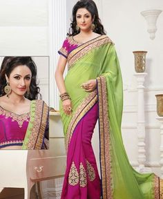 Picture of Classy Mangeta And Green Chiffon Sarees