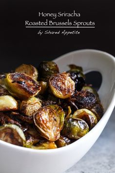 Roasted Brussels Sprouts with Honey, Sriracha, and Lime by @sharedappetite.  Perfect fall side dish or to spice up your Thanksgiving spread!