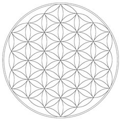 This is the Flower of Life    it is a geometrical figure composed of evenly spaced overlapping circles    the center of each circle is on the circumference of six surrounding circles of the same diameter    the seed of life and the symbol of Metatron's Cube share a 2-D resonance and both patterns can represent three-dimensional objects in two dimensional space,
