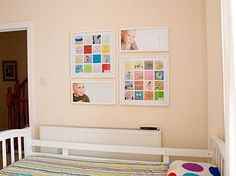 Great way to display kids artwork! Scan and create a collage using Photoshop, print and frame!