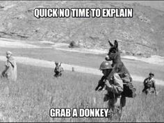 """No time to explain... grab a Donkey!"", I think that explains it all ; )"
