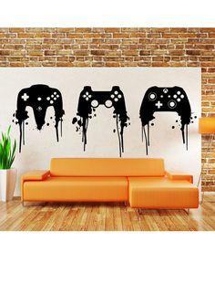 Playstation Controller Paint Splatter Decal by NewMetaMedia Boy Room, Kids Room, Room Ideias, Deco Gamer, Mundo Dos Games, Game Room Design, Man Cave Bar, Gamer Room, Game Room Decor