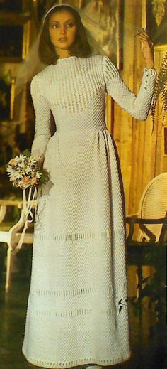 Vintage Knitted Wedding Gown Pattern by MAMASPATTERNS on Etsy, $3.50