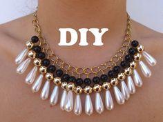 DIY Necklace Collar muy de moda (in spanish). DIY statement collar with pearls.