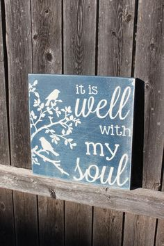 It is Well with my Soul Hymn Painted Sign by TorreysTouches Christian Signs, Christian Decor, Painted Signs, Wooden Signs, Wooden Boards, Scripture Signs, Bible Verses, Gifts For Pastors, Back Painting