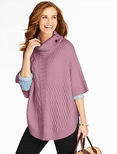 Talbots - Mix-Stitched Turtleneck Poncho     Discover your new look at Talbots. Shop our Mix-Stitched Turtleneck Poncho for stylish clothing and accessories with a modern twist at Talbots