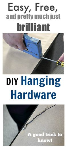 DIY picture or mirror hanging hardware! So much easier than searching for one of those little hanging kits!