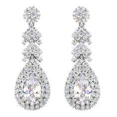 BELLA Fashion 925 Sterling Silver Tear Drop Bridal Earrings Cubic Zircon Dangle Earrings Wedding Party Jewelry Valentine Gift