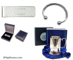 14/11 - Added a 925 Sterling Silver Money Clip or note Organiser with machined diagonal line detailing, A Mens Full Twist Banglewhich comes gift boxed and a Stainless Steel Tankard which included a Royal Blue or Crimson Red Box and Velvet Bag.