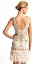 NEW! SUE WONG GATSBY Art Deco Blush Beaded Feather Bridal Cocktail Dress 0
