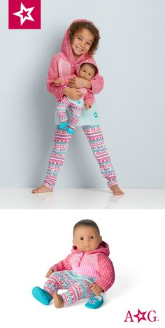 Your little girl will be cozy and warm in this American Girl outfit that matches the doll-sized version! American Girl Outlet, American Girl Doll Sets, All American Girl, American Girl Clothes, My Little Baby, Little Girls, Bitty Baby Clothes, 10 Birthday, Girl Online