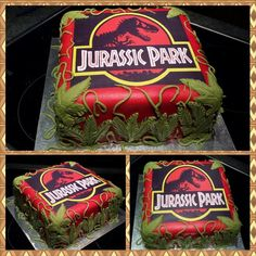 Jurassic Park cake – For all your cake decorating supplies, please visit craftco… Jurassic Park cake – Pour tous vos … Jurassic Park Party, Jurassic World Cake, Birthday Party At Park, Dinosaur Birthday Party, 6th Birthday Parties, Birthday Ideas, Dino Cake, Dinosaur Cake, Anniversaire Godzilla