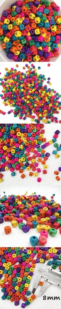 English Alphabet Letter 200pcs 8mmCraft Wood Spacer Beads Wooden Beads Toys For Baby Smooth Fashion Jewelry Making DIY