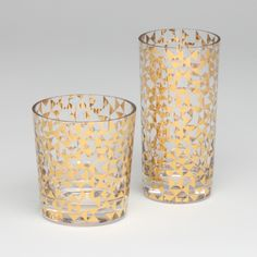 GLOBAL VIEWS   Product Details   D6.60018 - Gold Triangles Drinking Glass-Short   D6.60019 - Gold Triangles Drinking Glass-Tall
