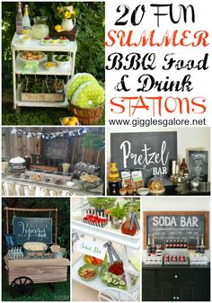 Do some fabulous entertaining with these 20 Fun Summer BBQ Food & Drink Stations! #summer #bbq #drinkstations #partyideas #foodstations
