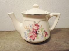 Sunday Teatime!!!  Vintage Teapot / Boho Teapot / White Floral Teapot / Porcelain Teapot / English Teapot / Bohemian Teapot / Coffee Pot on Etsy, $32.00
