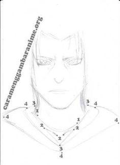 How to draw itachi uchiha face, step 5