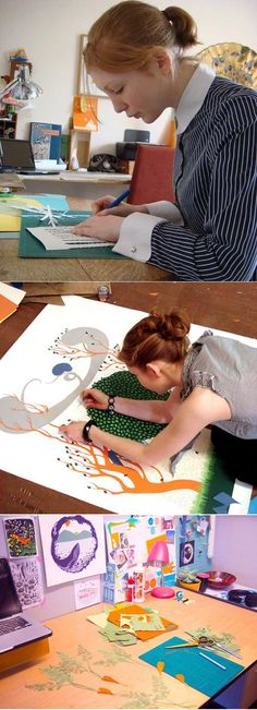 Sarah Dennis, Papercut artist, at work     http://sarah-dennis.co.uk/