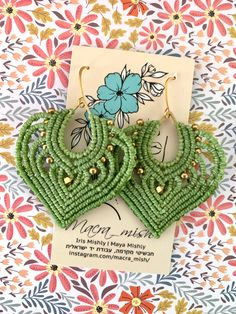 Macrame Earrings, Crochet Earrings, Micro Macrame, Festival Fashion, Iris, Handmade Jewelry, Crochet Hats, Women's Fashion, Invitations