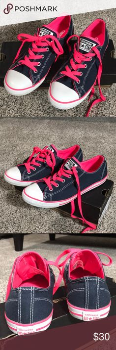 Converse All Star Sneakers Excellent Condition!! Clean  Outgrew before they could be used. Navy Blue with white & pink. True to size 7 ❌Trades ❌Modeling  ❤️Bundle and save 5% on 2 or more items! Converse Shoes Sneakers