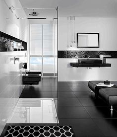 Black And White Bathroom Design Black White Modern Bathroom Design Black And White Interior, White Interior Design, Black And White Tiles, Contemporary Interior, White Walls, Simple Bathroom Designs, Modern Bathroom Design, Bathroom Interior Design, Black White Bathrooms