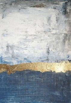 original abstract gold blue painting by Jolina Anthony