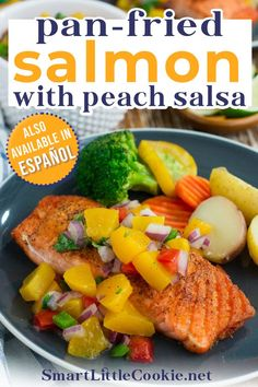 Make this quick, easy and absolutely delicious pan-fried salmon fillet with peach salsa and have dinner on the table in 20 minutes or less! Fresh and vibrant in flavor, it's a great healthy weeknight meal. As busy parents, I'm sure many of you would agree that sometimes being able to cook a delicious, healthy meal for dinner can feel more like a luxury than a reality. | @mydominicankitchen #bestsalmonrecipe #peachsalsa #dominicanrecipes Peach Salsa Recipes, Best Fish Recipes, Summer Recipes, Delicious Recipes, Holiday Recipes, Pan Fried Salmon Fillet, Pan Seared Salmon, Salmon Fillets, Mother's Day Brunch Menu